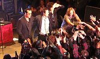 The band greets fans after its first show since 2003 at the Houdini Mansion on April 7, 2008.