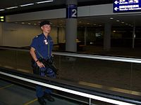 Airport Security Unit on patrol in the Hong Kong International Airport
