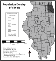 Density map displaying the population of Illinois