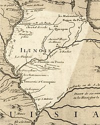 Illinois in 1718, approximate modern state area highlighted, from Carte de la Louisiane et du cours du Mississipi by Guillaume de L'Isle