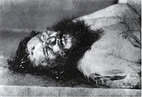 Rasputin's body with bullet wound in forehead