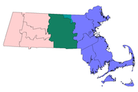 Massachusetts with three major regions highlighted: Central Massachusetts in green and teal (used to show towns in Middlesex County), Eastern Massachusetts in blue and Western Massachusetts in pink.