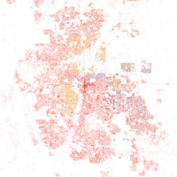 Map of racial distribution in Denver, 2010 U.S. Census. Each dot is 25 people: White, Black, Asian , Hispanic , or Other (yellow)
