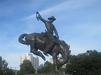 "The ""Bronco Buster"", a variation of Frederic Remington's ""Bronco Buster"" western sculpture at the Denver capitol grounds, a gift from J.K. Mullen in 1920"