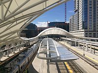 Union Station train shed, designed by Skidmore, Owings & Merrill, on opening day of the A line to DIA.