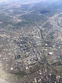Aerial photograph of Denver from the northwest