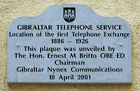 A plaque in City Mill Lane marking the site of Gibraltar's first telephone exchange