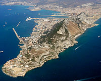 Gibraltar from the air, looking north-west