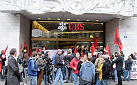 Protestors outside of UBS's Zürich headquarters, 2009
