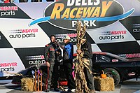Darnell in victory lane at Dells Raceway Park in 2016