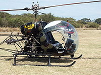 Bell 47G helicopter in MASH colours.