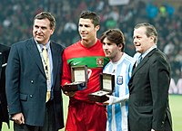 Cristiano Ronaldo and Lionel Messi taking part in ceremonies before a Portugal–Argentina friendly in Switzerland, 2011.
