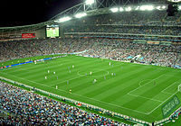 Sydney FC playing a friendly match against the Los Angeles Galaxy at ANZ Stadium in November 2007.