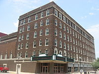 Signature School (previously the Sonntag Hotel) shares a building with the Victory Theatre