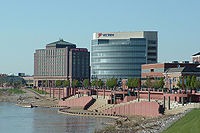 The downtown riverfront area features tiered stadium seating for special events and fireworks along the Ohio River.