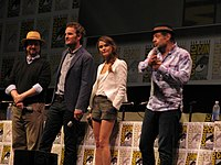 Director and cast of Dawn of the Planet of the Apes (from left): Matt Reeves and stars Jason Clarke, Keri Russell, and Andy Serkis