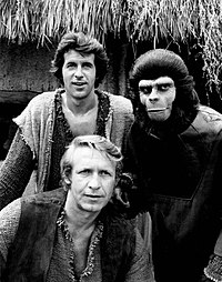 The lead cast of the Planet of the Apes television series: James Naughton as Burke, Ron Harper as Virdon and Roddy McDowall as Galen