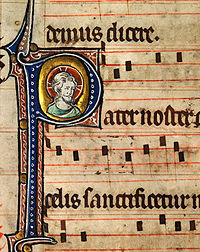 Music notation from an early 14th-century English Missal, featuring the head of Christ. Catholic monks developed the first forms of modern European musical notation in order to standardize liturgy throughout the worldwide Church.
