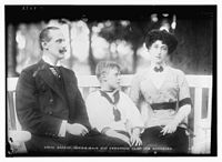 Haakon VII of Norway, Maud of Wales and Crown Prince Olav on 17 July 1913 in Norway
