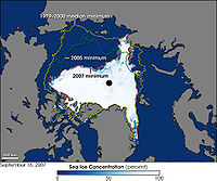 Sea cover in the Arctic Ocean, showing the median, 2005 and 2007 coverage