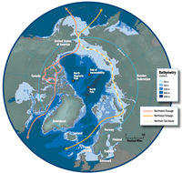 The Arctic region showing the Northeast Passage, the Northern Sea Route within it, and the Northwest Passage.