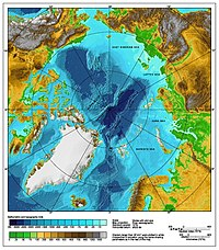 A bathymetric/topographic map of the Arctic Ocean and the surrounding lands.