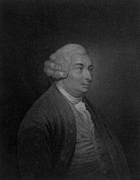 An engraving of Hume from the first volume of his The History of England, 1754