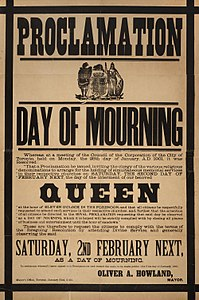 Poster proclaiming a day of mourning in Toronto on the day of Victoria's funeral