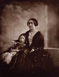 Earliest known photograph of Victoria, here with her eldest daughter, c.1845