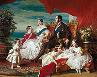 Victoria's family in 1846 by Franz Xaver Winterhalter. Left to right: Prince Alfred and the Prince of Wales; the Queen and Prince Albert; Princesses Alice, Helena and Victoria.
