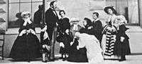 Albert, Victoria and their nine children, 1857. Left to right: Alice, Arthur, Prince Albert, Albert Edward, Leopold, Louise, Queen Victoria with Beatrice, Alfred, Victoria and Helena.