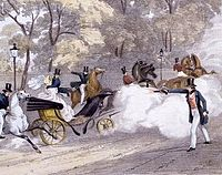 Contemporary lithograph of Edward Oxford's attempt to assassinate Victoria, 1840