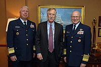 King with Coast Guard officials in Washington, 2013.