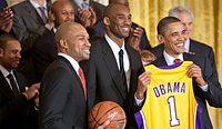 Derek Fisher and Bryant with President Barack Obama during the White House visit honoring the Lakers' 2009 championship