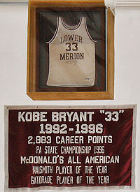 Bryant's retired No. 33 jersey and banner at the Lower Merion High School gym