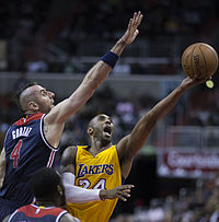 Bryant shooting against Marcin Gortat of the Washington Wizards, 2014