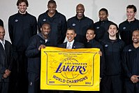 Bryant and fellow Lakers meet with President Barack Obama in honor of the 2010 championship.