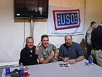 James Gandolfini (right) and Tony Sirico (left) visit the U.S. Air Force during a USO visit to Southwest Asia