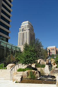 The Wasatch Front region has seen large growth and development despite the economic downturn. Shown is the City Creek Center project, a development in downtown Salt Lake City with a price tag of $1.5–2.5 billion.