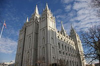 The LDS Salt Lake Temple, the primary attraction in the city's Temple Square
