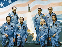 Jake Garn (top-right), former Senator of Utah (1974–1993), and astronaut on Space Shuttle flight STS-51-D