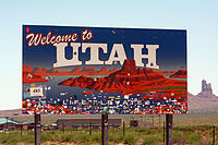 """Welcome to Utah"" sign"