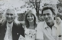 Dan George with Sondra Locke and Clint Eastwood at a barbecue in Santa Fe, New Mexico promoting The Outlaw Josey Wales (1976)