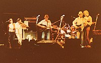 """Fairport Convention """"Nine"""" line-up, reunited on stage at Cropredy 1982"""