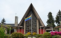 Sand Point Community United Methodist Church in Seattle flies a pride flag, April 2014.