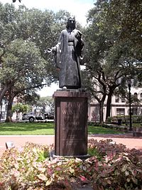 Statue of John Wesley in Savannah, Georgia, where he served as a missionary