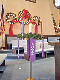An Advent wreath in the chancel of Broadway United Methodist Church, located in New Philadelphia, Ohio