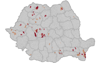 Cities (dark brown) and communes (light brown) placed on local lockdown during the pandemic