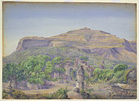 Oil painting on paper, Champaner, 1879