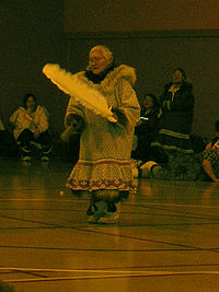 An Inuit drum dancer performing at Gjoa Haven